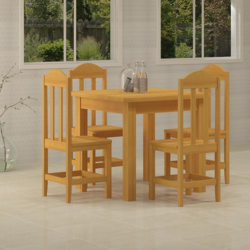 Mesa Safira 0,88 x 0,88 cerejeira com 4 cadeiras safira cerejeira