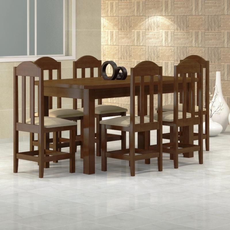 Mesa Safira 1,60 x 0,88 castanho com 6 cadeiras safira castanho -  Corano beje