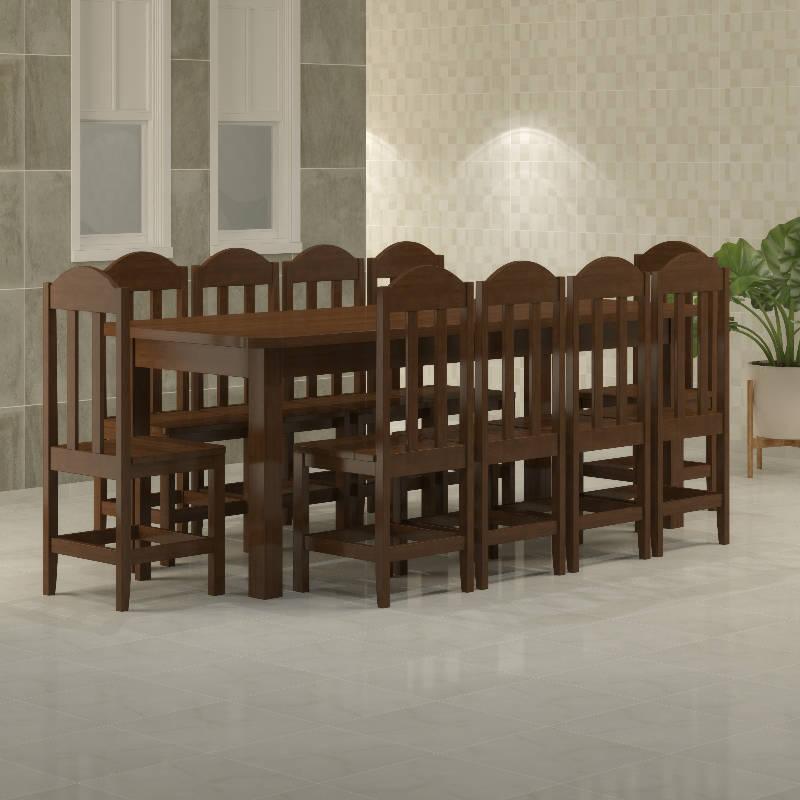 Mesa Safira 2,20 x 0,88 castanho com 10 cadeiras safira castanho