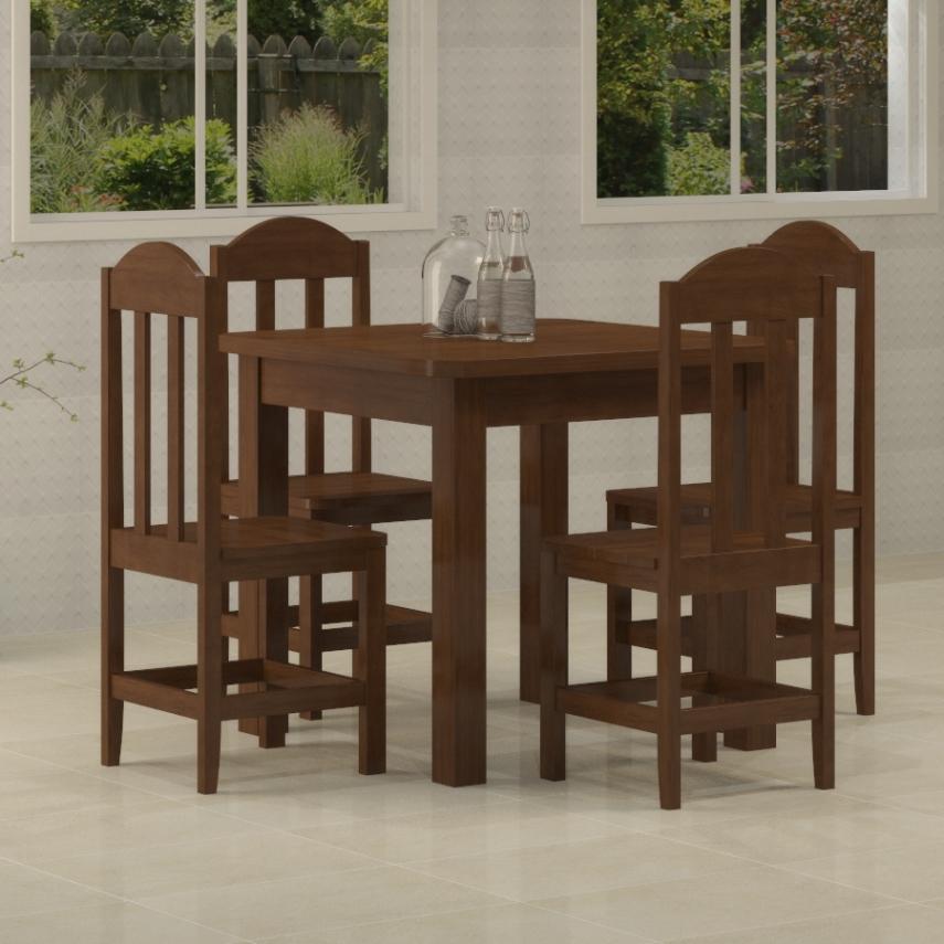 Mesa Safira 0,88 x 0,88 com 4 cadeiras Safira Castanho