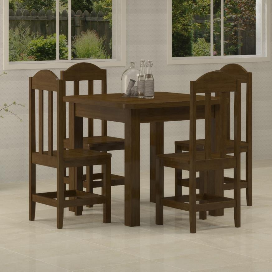 Mesa Safira 0,88 x 0,88 com 4 cadeiras Safira Imbuia