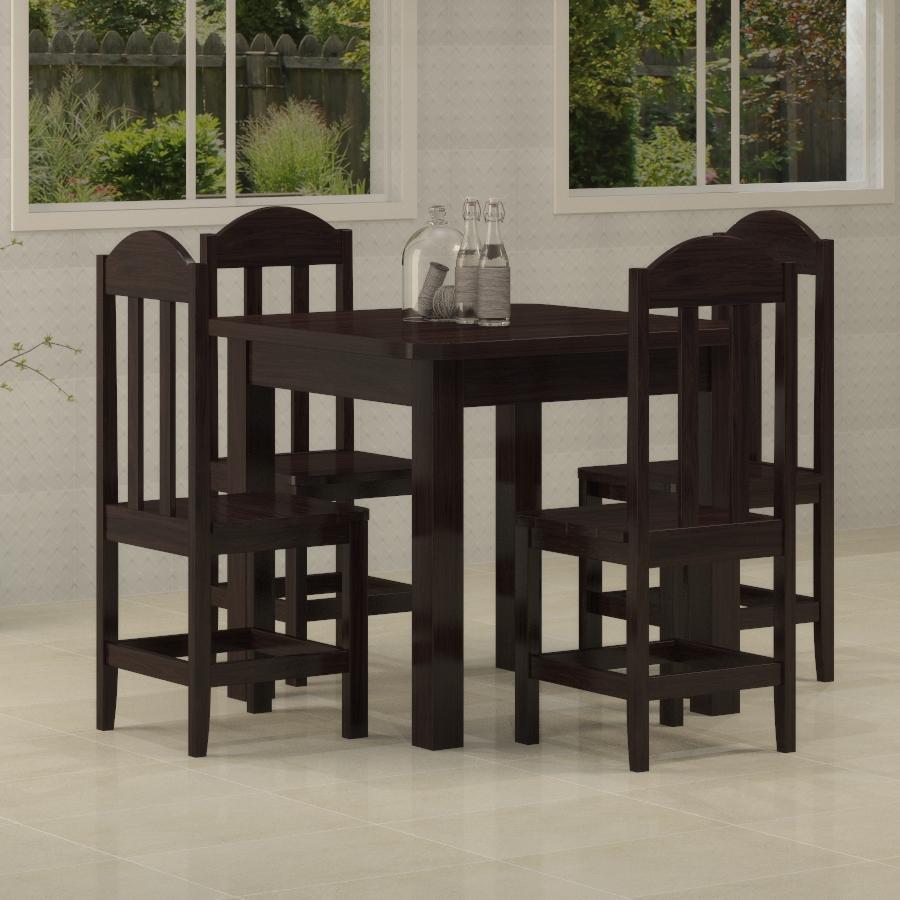 Mesa Safira 0,88 x 0,88 com 4 cadeiras Safira Tabaco