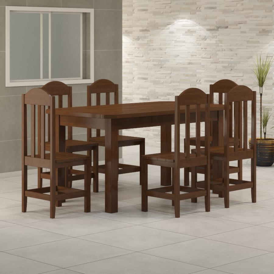 Mesa Safira 1,60 x 0,88 com 6 cadeiras Safira Castanho
