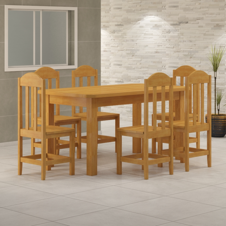 Mesa Safira 1,60 x 0,88 com 6 cadeiras Safira Cerejeira