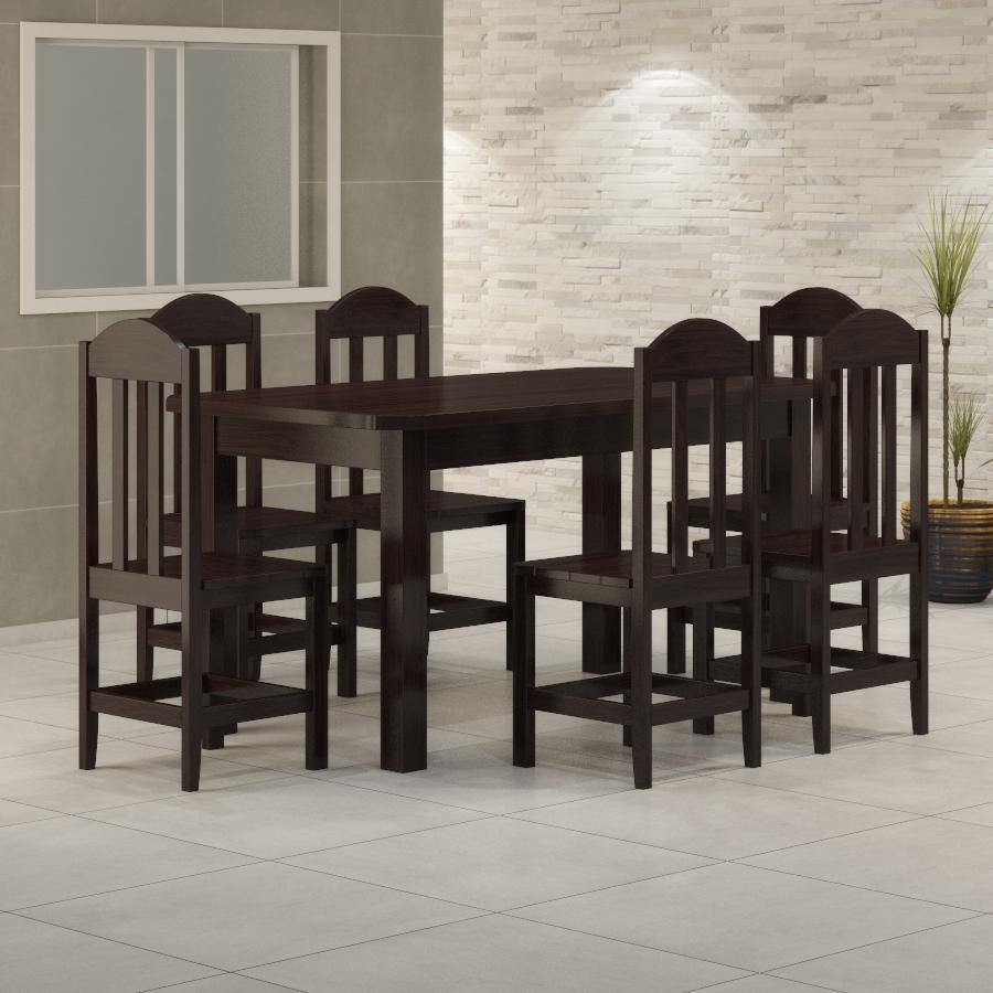 Mesa Safira 1,60 x 0,88 com 6 cadeiras Safira Tabaco