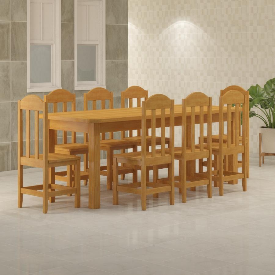 Mesa Safira 2,20 x 0,88 com 8 cadeiras Safira Cerejeira
