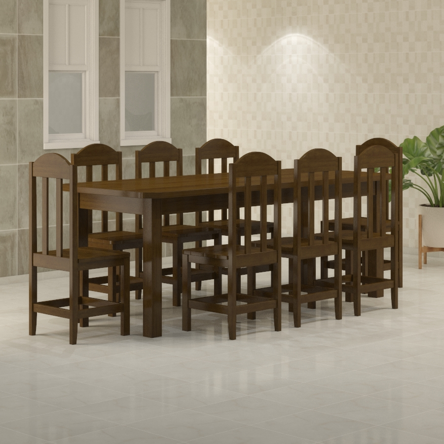 Mesa Safira 2,20 x 0,88 com 8 cadeiras Safira Imbuia