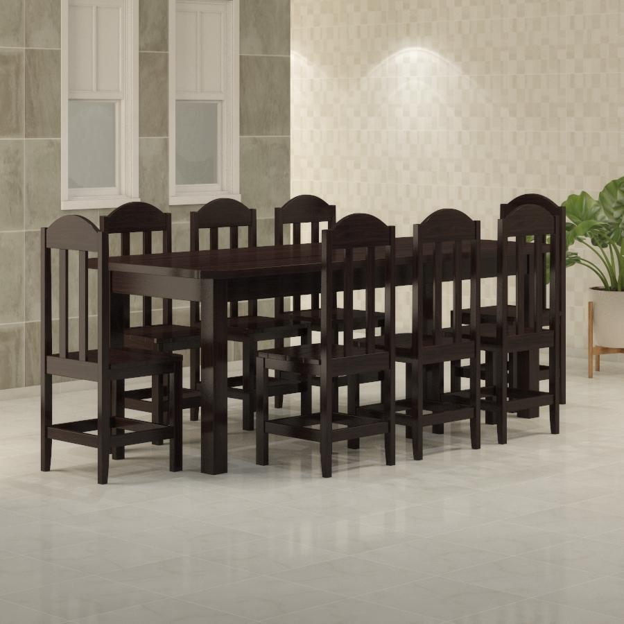 Mesa Safira 2,20 x 0,88 com 8 cadeiras Safira Tabaco