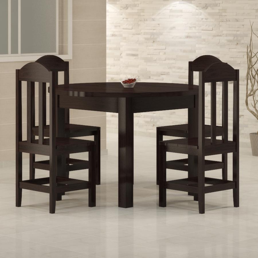 Mesa Safira redonda 1,18 com 4 cadeiras Safira Tabaco